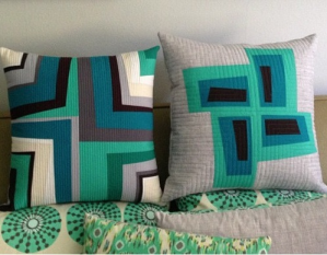 sewkatiedid/modern log cabin pillow