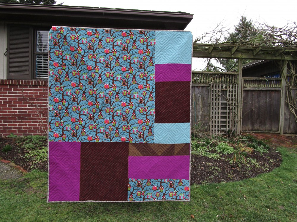 Sewkatiedid:Sleepy Owl Quilt Back Full
