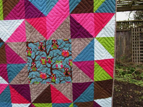 Sewkatiedid:Sleepy Owl Quilt Star Detail