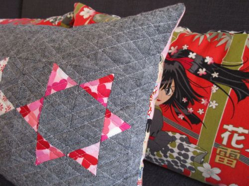sewkatiedid:throwing stars pillow:to the point triangle workshop: